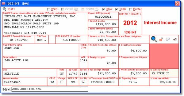 1099 Int Template Word 1099 Int User Interface Interest In E Data is Entered