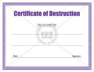123 Awards Certificates Destruction Certificate Archives 123 Certificate