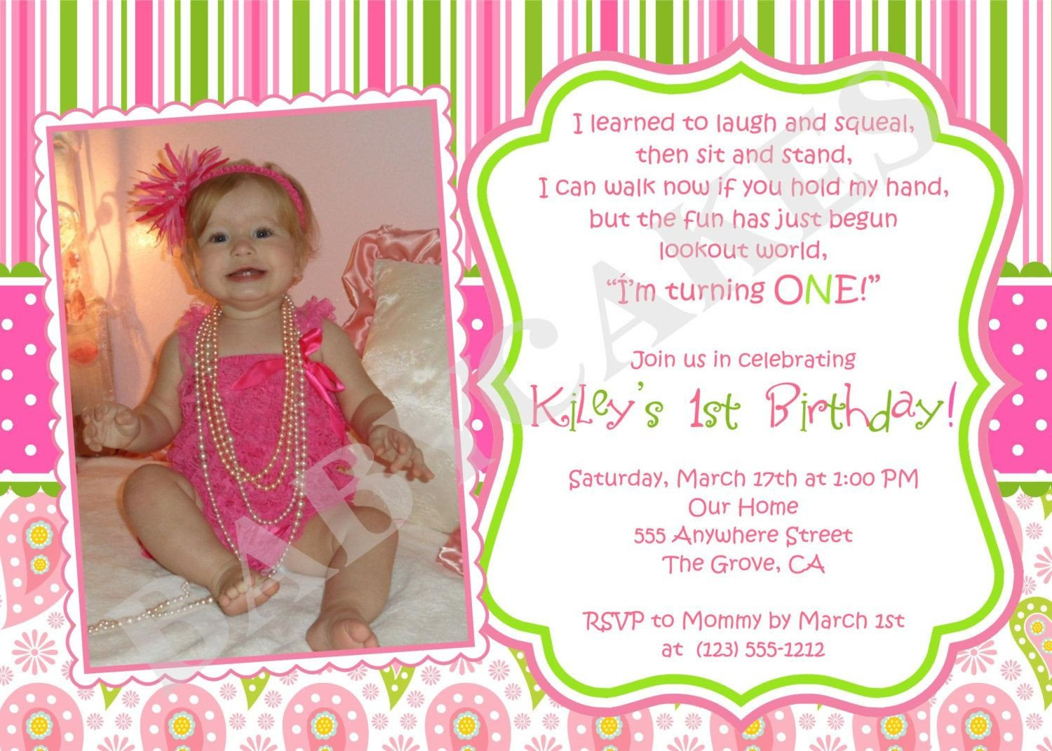 1st Birthday Invitation Template 1st Birthday Girl themes