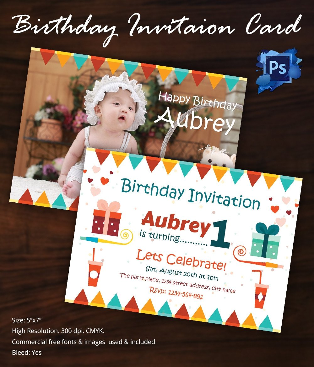 1st Birthday Invitation Template Birthday Invitation Template 32 Free Word Pdf Psd Ai