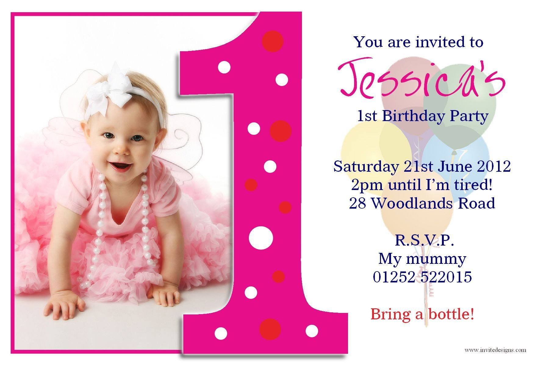 1st Birthday Invitation Template Birthday Party First Birthday Invitations Card