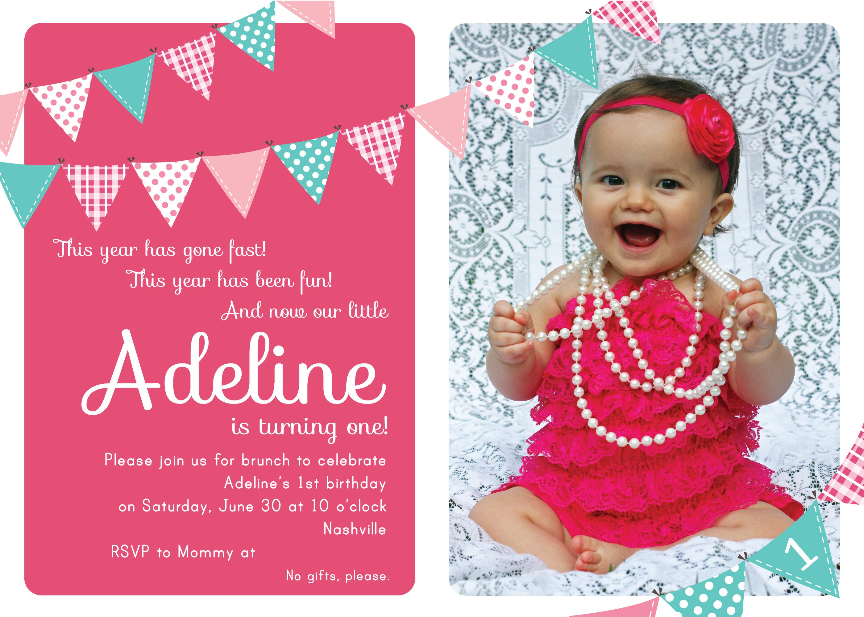 1st Birthday Invitation Template First Birthday Party Invitation Ideas – Bagvania Free