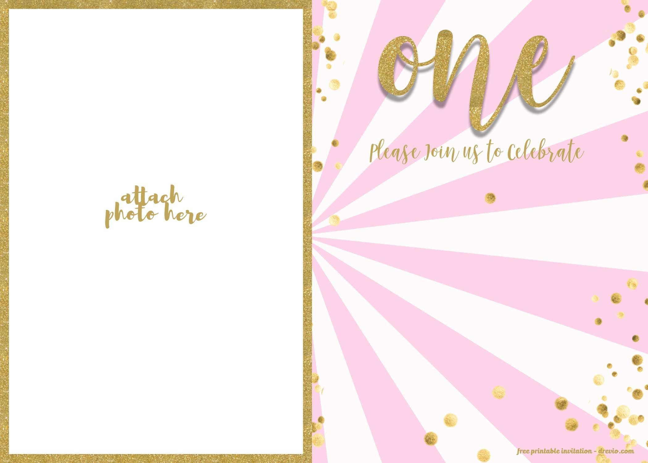 1st Birthday Invitation Template Free 1st Birthday Invitation Pink and Gold Glitter