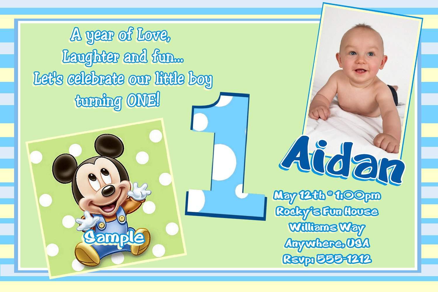 1st Birthday Invitation Template Free Printable Mickey Mouse 1st Birthday Invitations