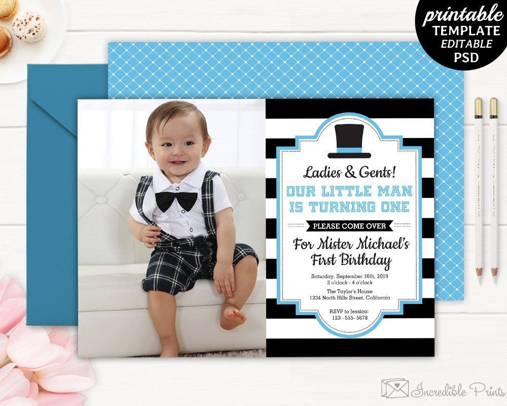 1st Birthday Invitation Template Gentleman Birthday Invitation Boy First Birthday Invite