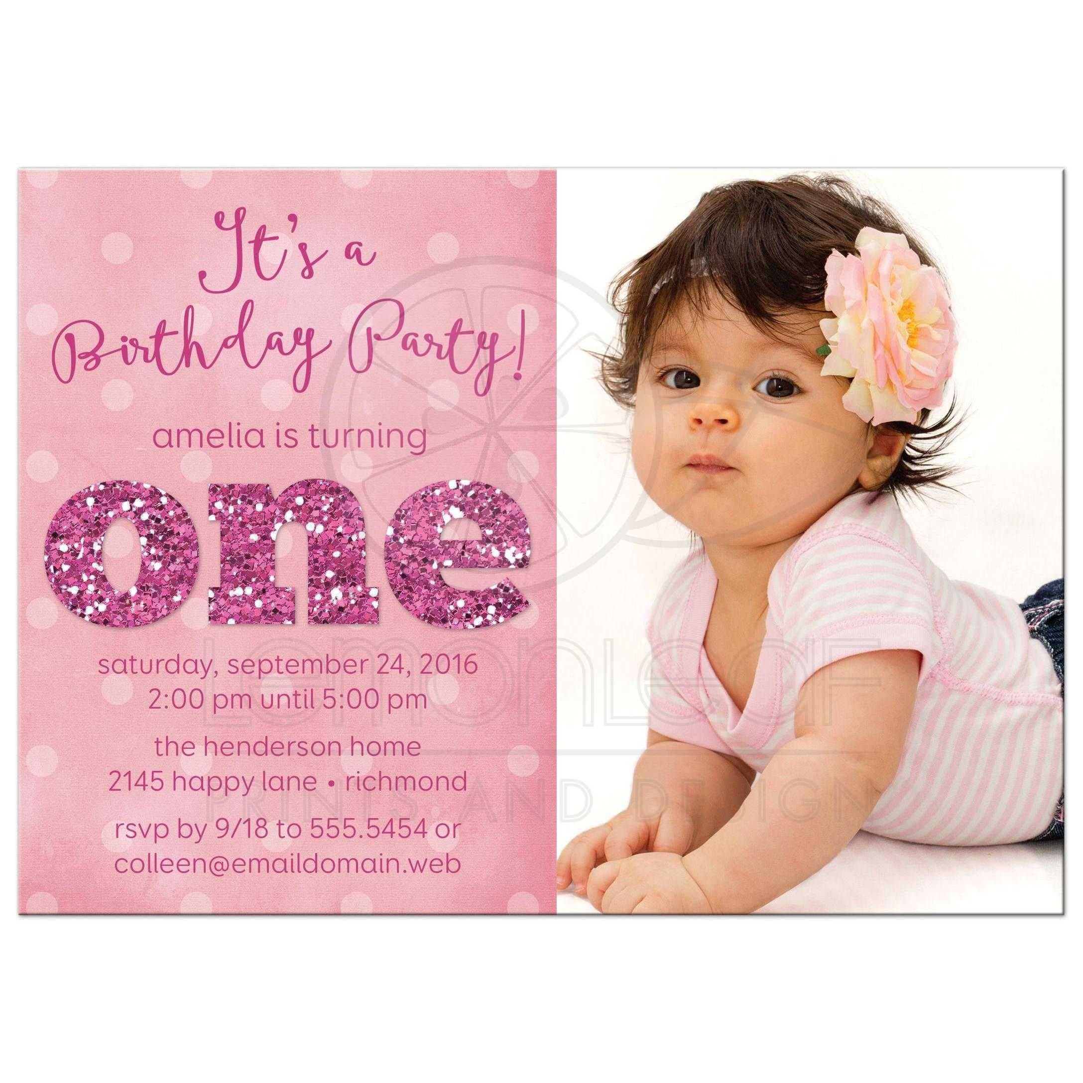 1st Birthday Invitation Template ist Birthday Party Invitations Sparkle E In 2019