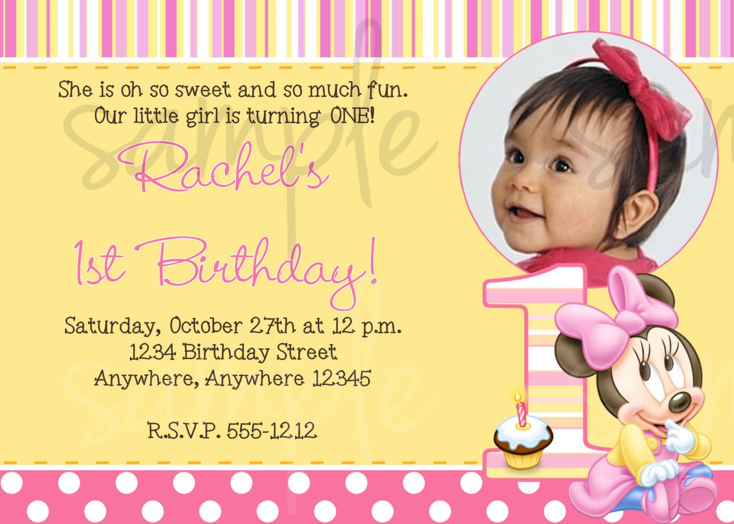 1st Birthday Invitation Template Minnie Mouse 1st Birthday Invitation