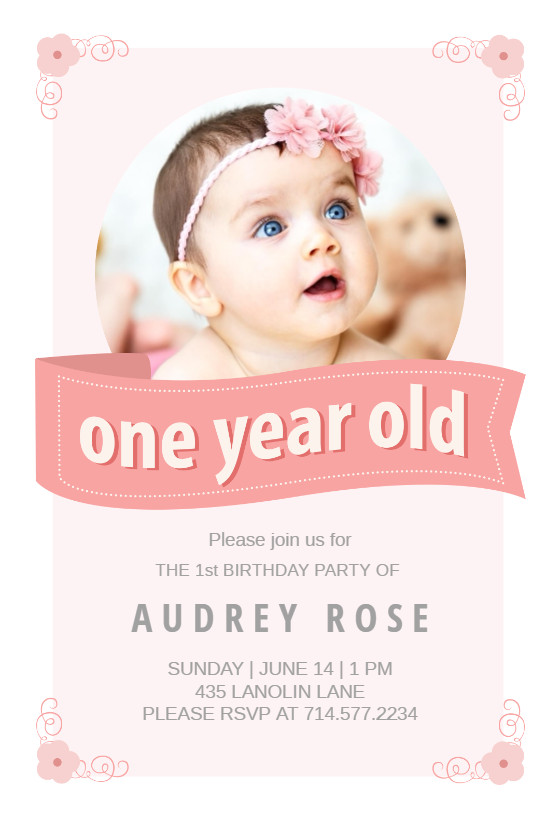 1st Birthday Invitation Template Pink Ribbon Birthday Invitation Template Free