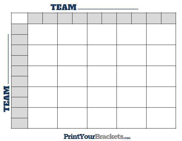 Printable NFL Football 25 Square Grid fice Pool