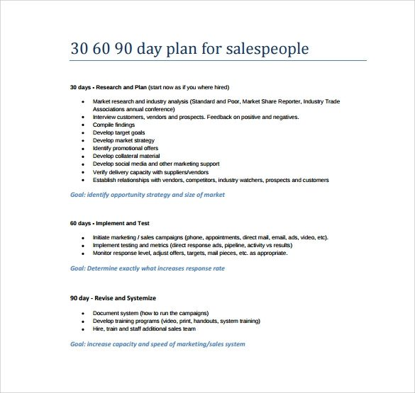 30 60 90 Day Template 30 60 90 Day Plan Template 8 Free Download Documents In Pdf
