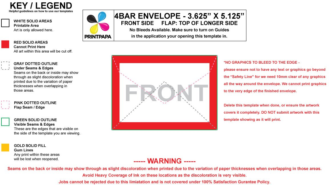 4 Bar Envelope Template Find A Printing Template Printpapa