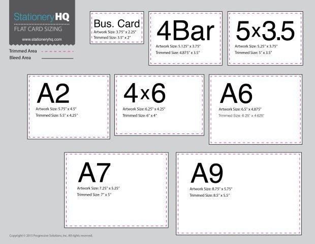 4 Bar Envelope Template Flat Card Size Chart Templates