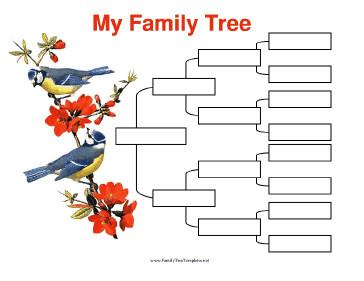 4 Generation Family Tree 4 Generation Family Tree with Birds Template