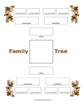 4 Generation Family Tree 4 Generation Family Tree with Fall Foliage Template