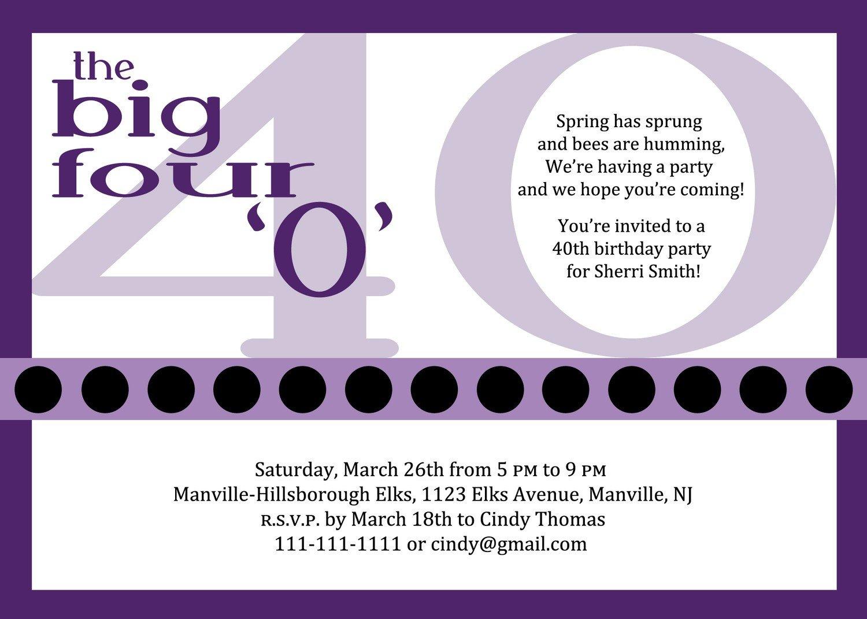 40th Birthday Invitation Wording 10 Birthday Invite Wording Decision – Free Wording
