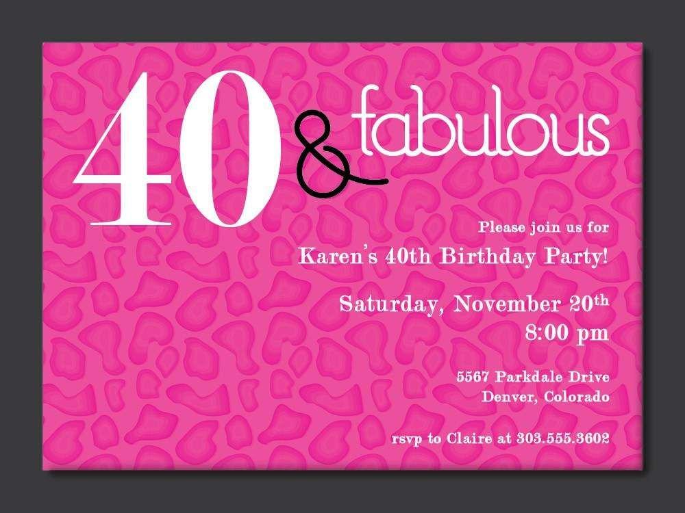40th Birthday Invitation Wording 40th Birthday Free Printable Invitation Template