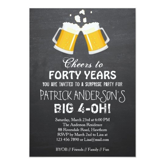 40th Birthday Invitation Wording 40th Birthday Invitation Beer 40th Birthday