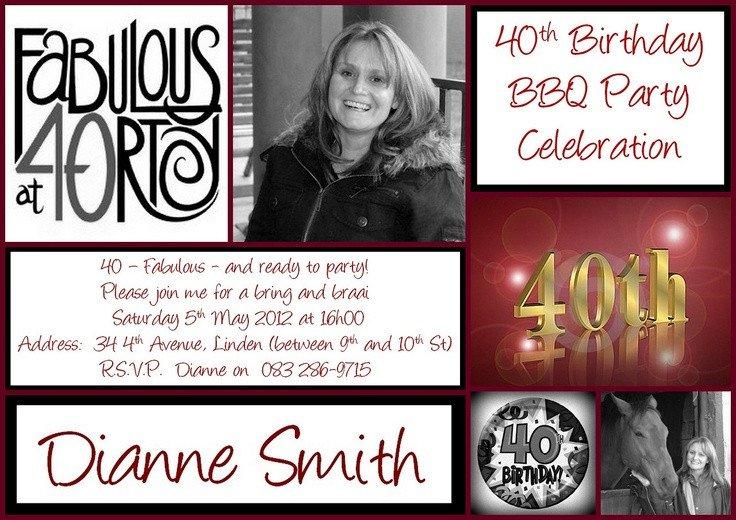 40th Birthday Invitation Wording 40th Birthday Invitation Invitations