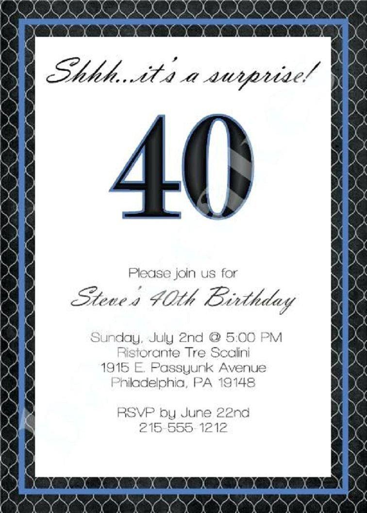40th Birthday Invitation Wording 40th Birthday Invitation Wording for Men