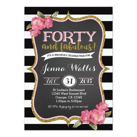 40th Birthday Invitation Wording 40th forty & Fabulous Birthday Invitation
