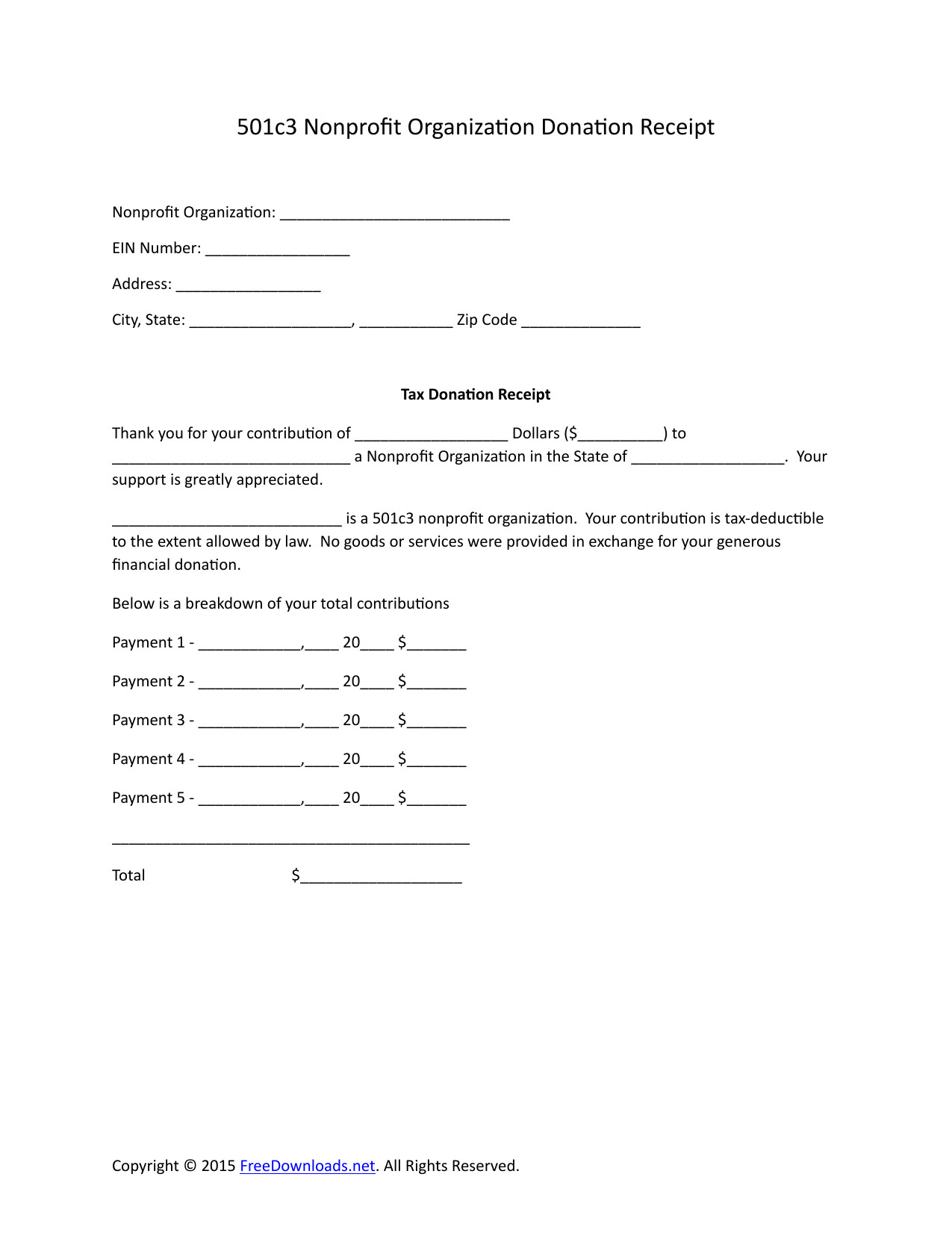 Download 501c3 Donation Receipt Letter for Tax Purposes