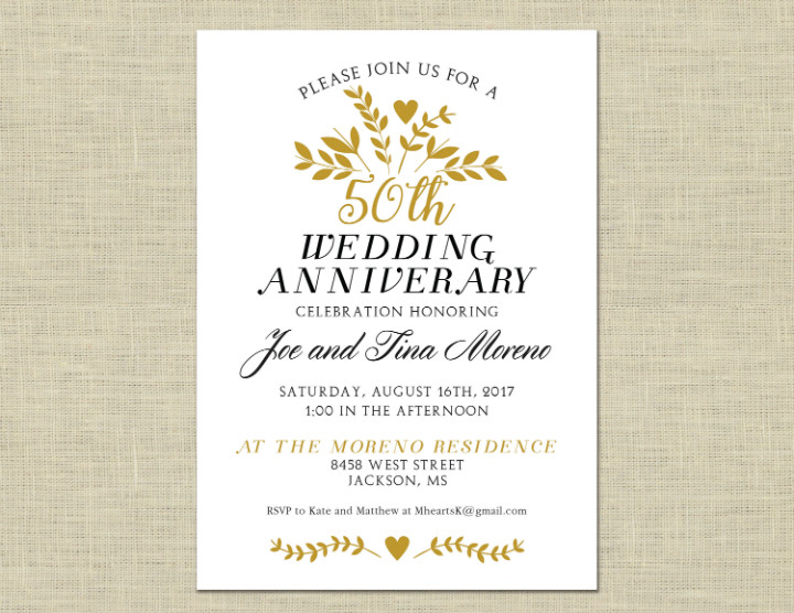 50th Anniversary Invitation Template 32 50th Wedding Anniversary Invitation Designs