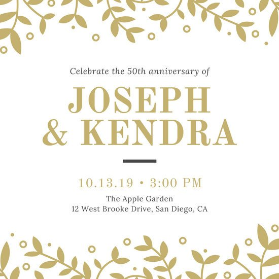 50th Anniversary Invitation Template Customize 389 50th Anniversary Invitation Templates