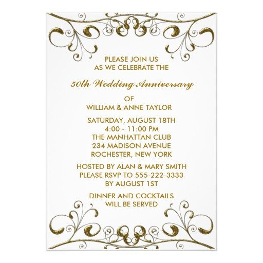 "50th Anniversary Invitation Template Gold Swirls 50th Wedding Anniversary Invitations 5"" X 7"