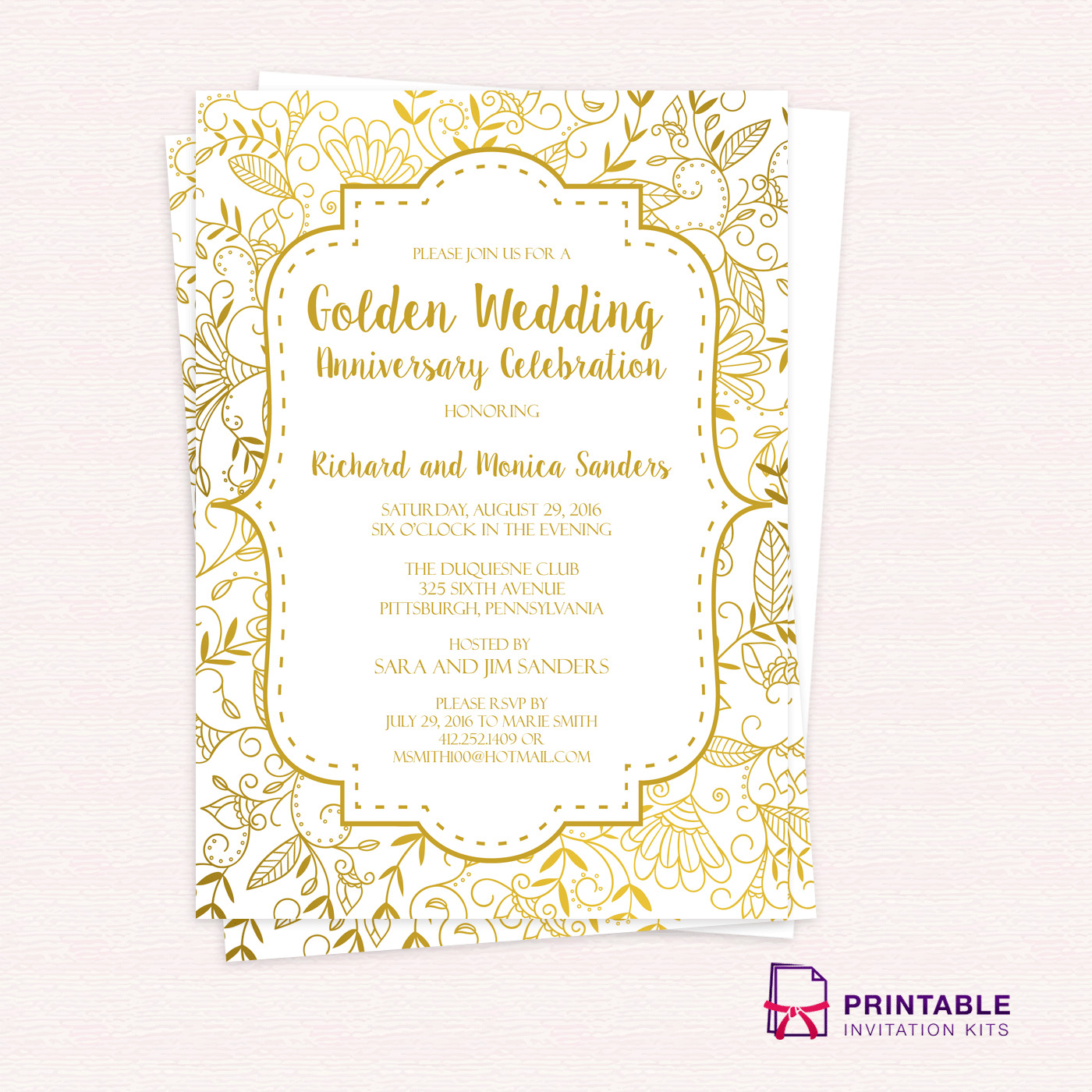 50th Anniversary Invitation Template Golden Wedding Anniversary Invitation Template