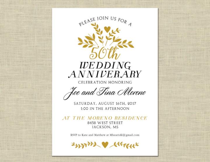 50th Anniversary Invitations Templates 32 50th Wedding Anniversary Invitation Designs