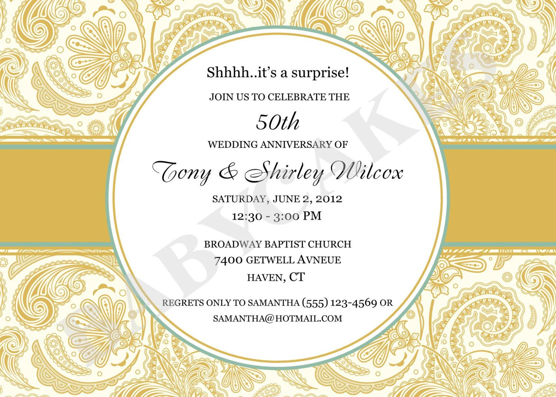 50th Anniversary Invitations Templates 50th Anniversary Invitation Rehearsal Dinner Diy Print Your