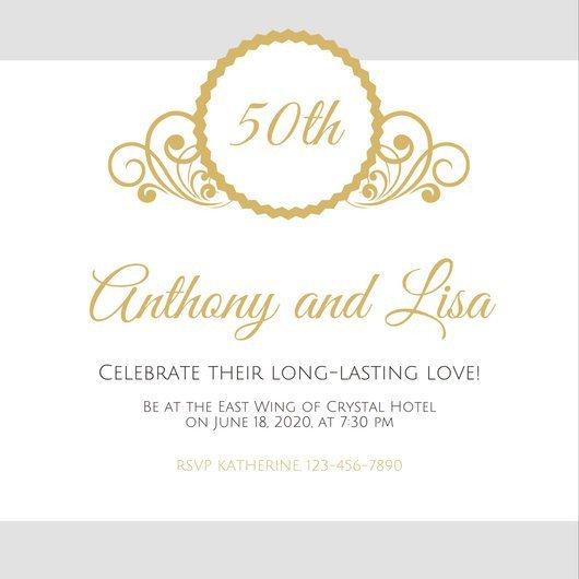 50th Anniversary Invitations Templates Customize 1 796 50th Anniversary Invitation Templates