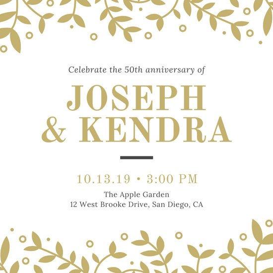 50th Anniversary Invitations Templates Customize 389 50th Anniversary Invitation Templates