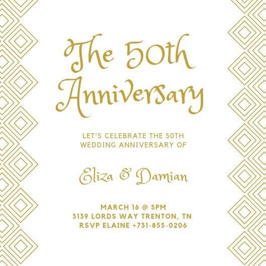 50th Anniversary Invitations Templates Customize 453 50th Anniversary Invitation Templates
