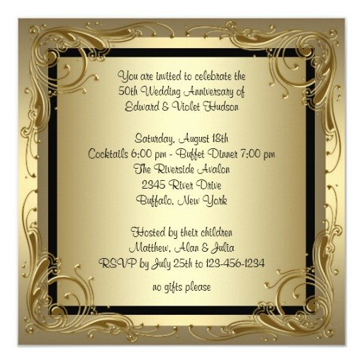50th Anniversary Invitations Templates Elegant Gold 50th Wedding Anniversary Party Invitation