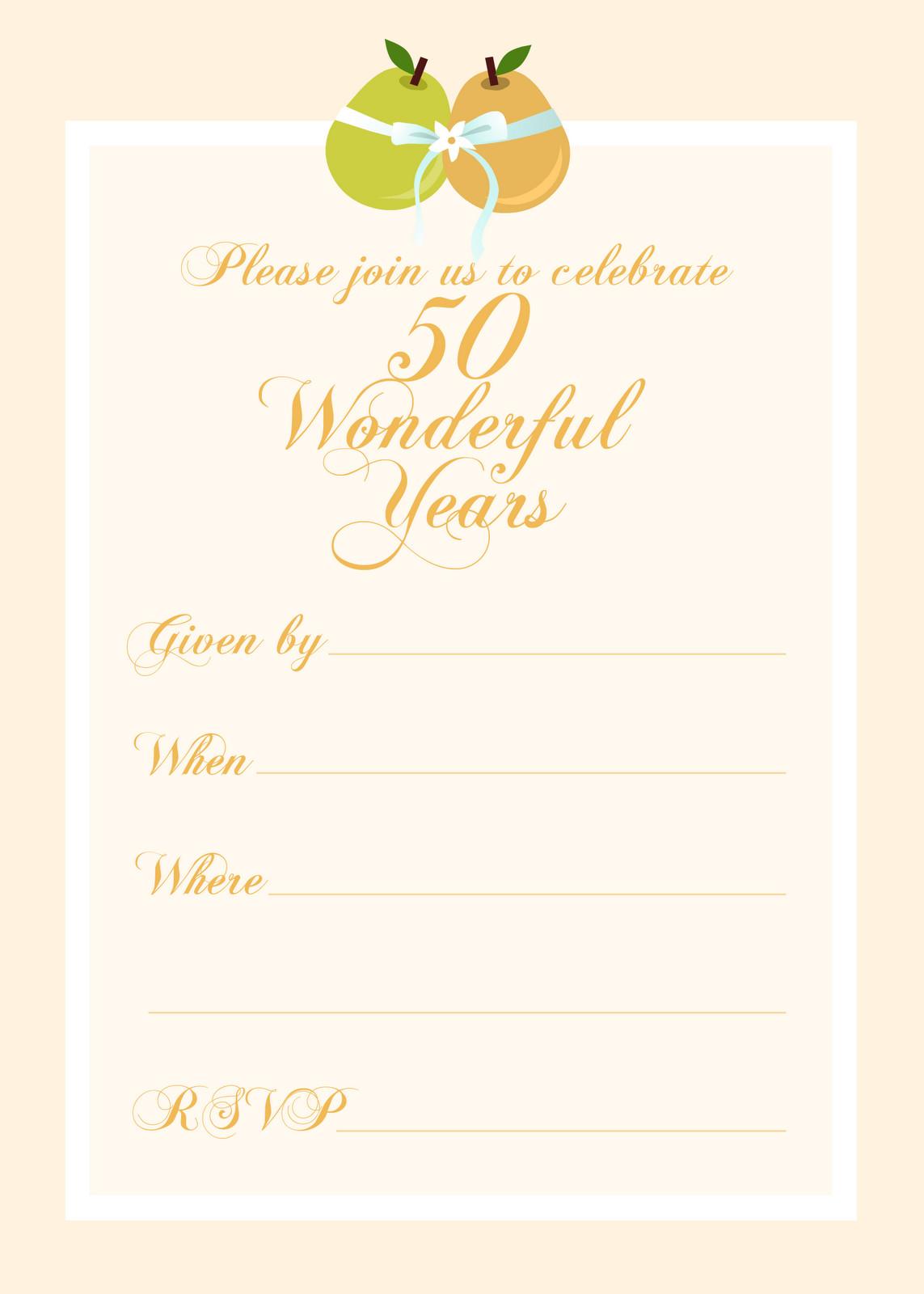 50th Anniversary Invitations Templates Free Printable Party Invitations Free 50th Wedding