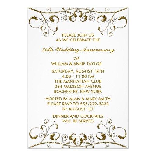 "50th Anniversary Invitations Templates Gold Swirls 50th Wedding Anniversary Invitations 5"" X 7"