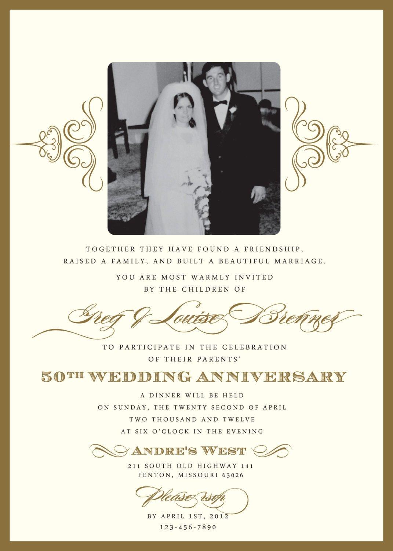 50th Anniversary Invitations Templates Golden 50th Anniversary Party Invitation