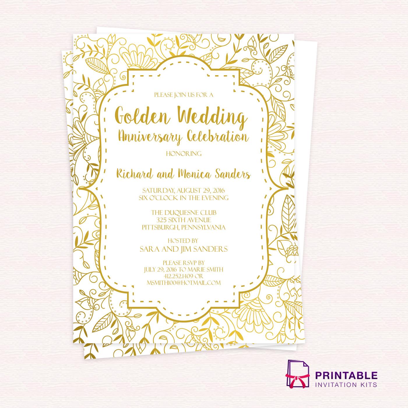 50th Anniversary Invitations Templates Golden Wedding Anniversary Invitation Template