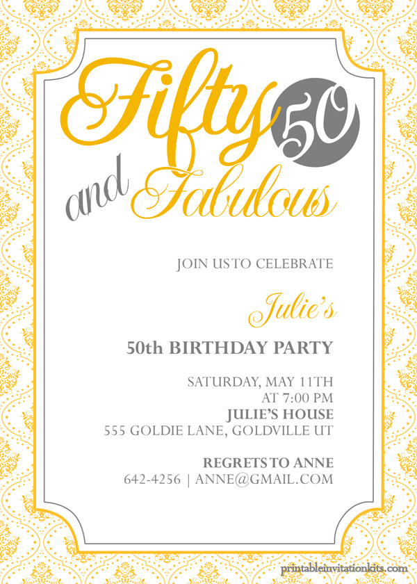 50th Birthday Invitation Template Fifty and Fabulous – 50th Birthday Invitation ← Wedding