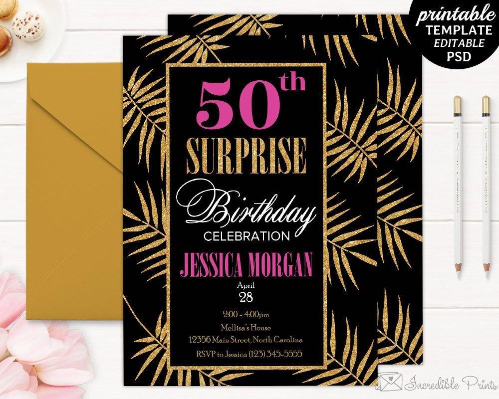 50th Birthday Invitations Templates 50th Birthday Party Invitation Template Birthday