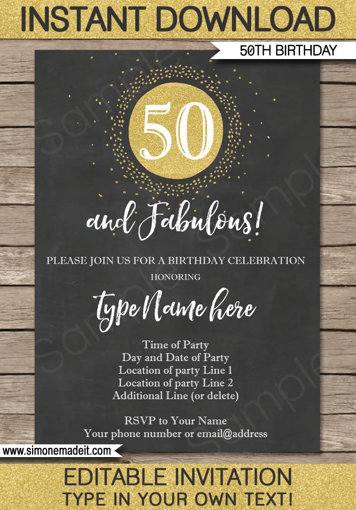 50th Birthday Invitations Templates Chalkboard 50th Birthday Invitations Template