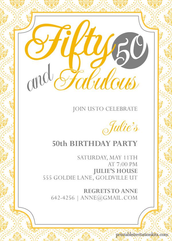 50th Birthday Invitations Templates Fifty and Fabulous – 50th Birthday Invitation ← Wedding