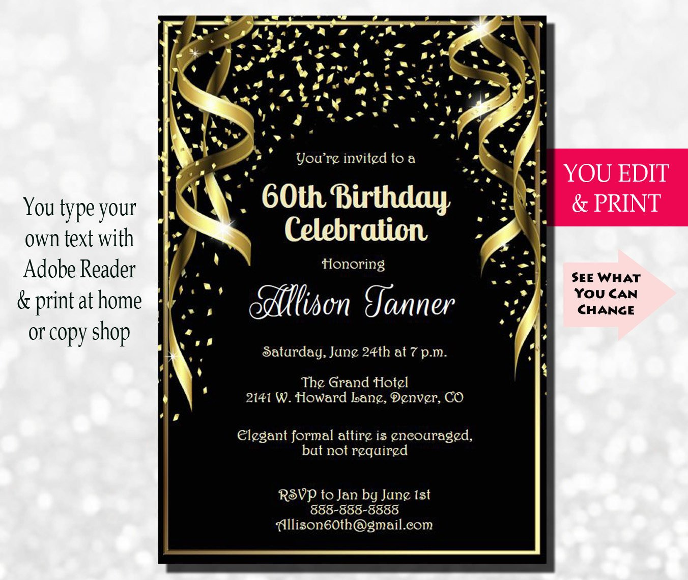 60th Birthday Invitation 60th Birthday Party Invitation 60th