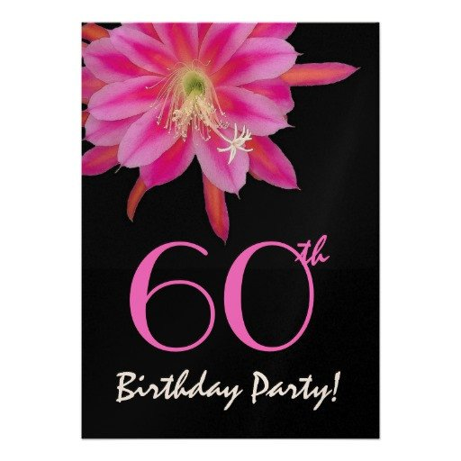 60th Birthday Invitations Template 60th Birthday Template Pink Flower Invitations