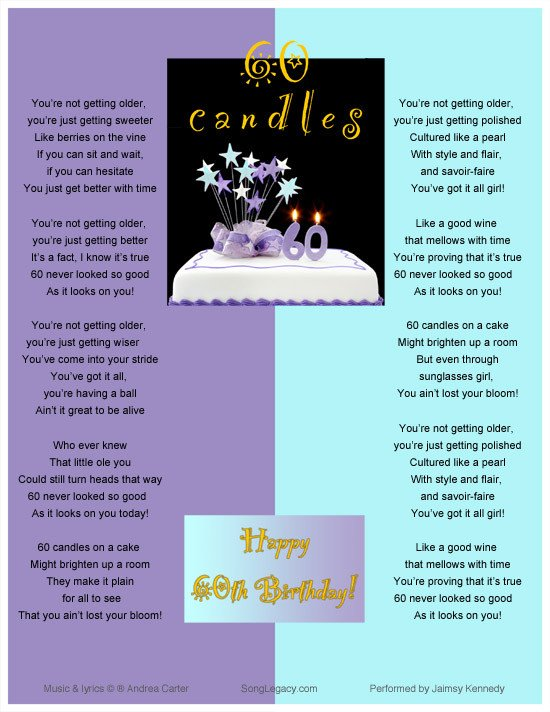 60th Birthday Program Sample Sixty Candles Happy 60th Birthday original 60th