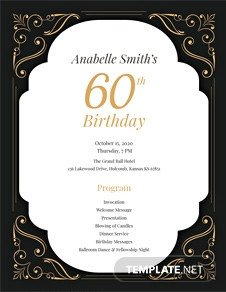 60th Birthday Program Sample Traditional Wedding Program Template In Adobe Shop