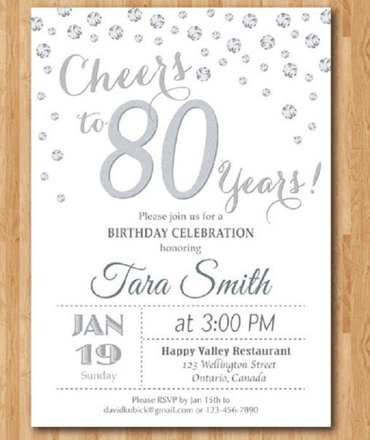 80th Birthday Invitations Templates Free 80th Birthday Invitations Templates Free
