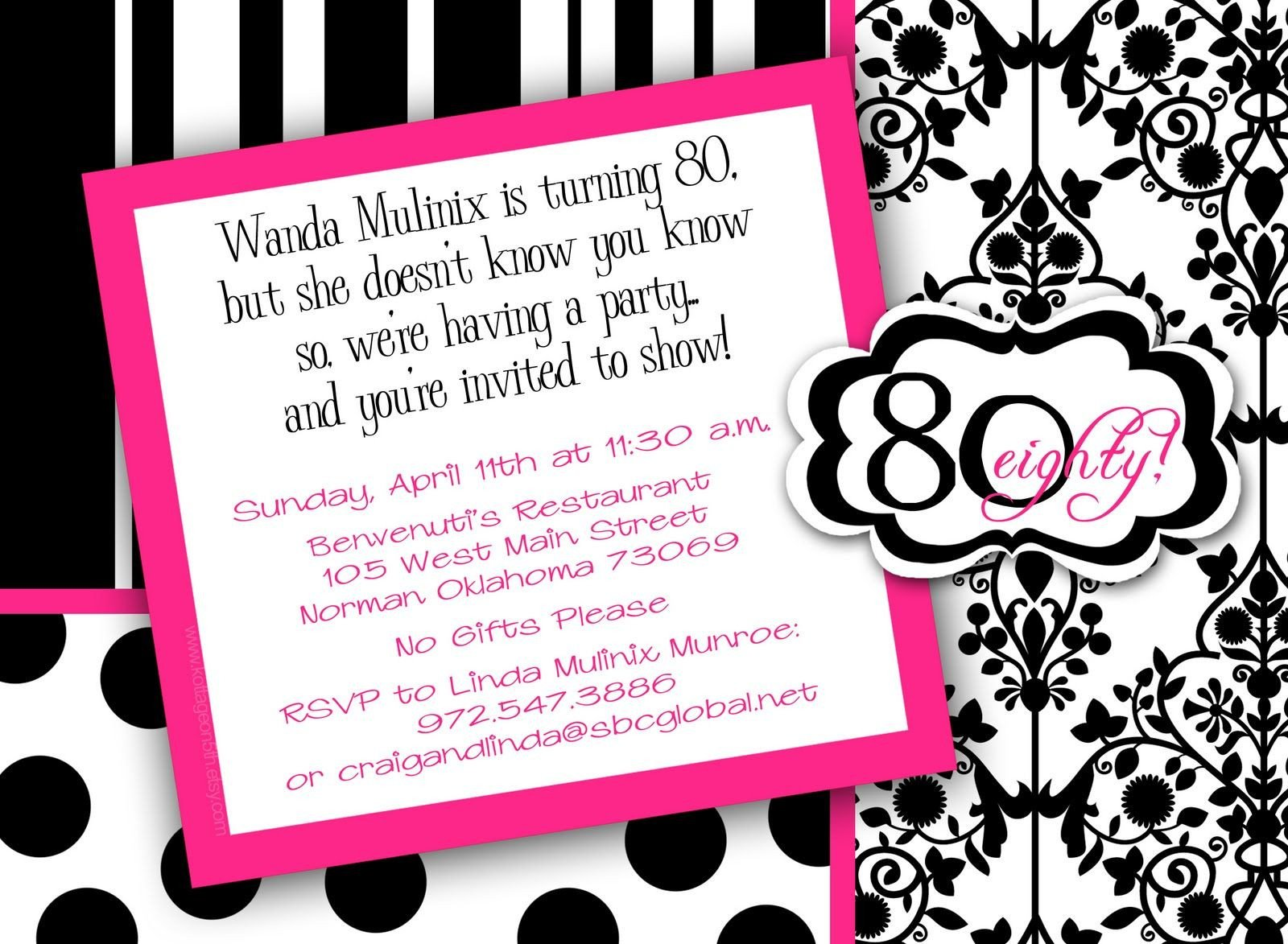80th Birthday Invitations Templates Free 80th Birthday Party Invitations