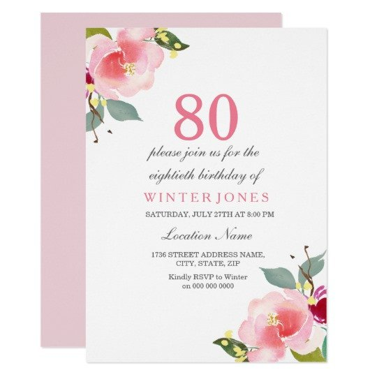 80th Birthday Invitations Templates Free Elegant Pink Floral 80th Birthday Party Invitation